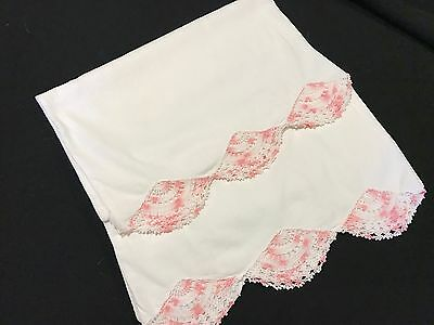 Pair Of Vintage White Cotton Blend Pillowcases With Pink & White Crochet Trim
