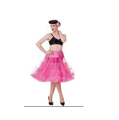 PETTICOAT - PINK  ruffled layered Rockabilly by HELL BUNNY dance ladies clothes