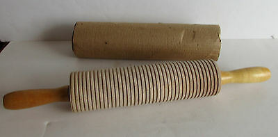 Lefse Rolling Pin Ribbed Grooved Wooden Norweigan Scandinavian 10""