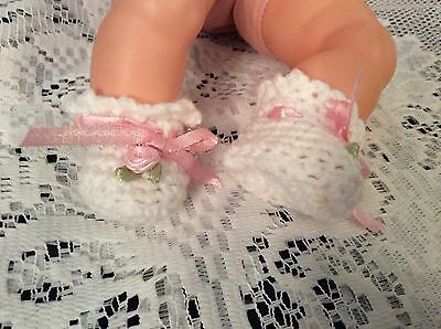 "Crochet Doll Booties For Small Doll Tiny Thumbelina 1 3/4"" Foot White And Pink"