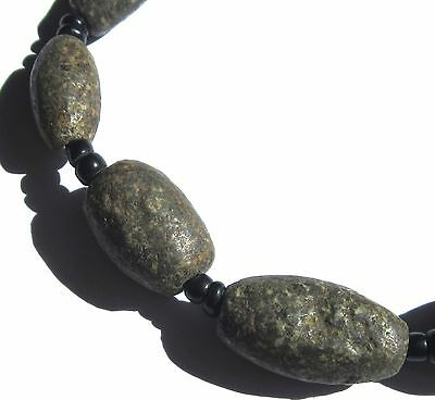 9 Rare Amazing Ancient Graduated Gneiss Oval Granite Beads