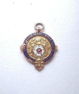 SOLID 9ct GOLD  COLLIERY MINERS RESCUE MEDAL YORKSHIRE  IN BOX OF iSSUE 1939