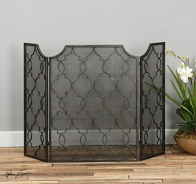 Tuscan French Style Mesh Fireplace Screen Antiqued Silver