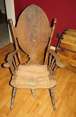 1800s Primitive Antique Wood Rocking Chair Wisconsin Manufacturing Co  Jefferson