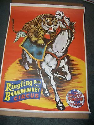 Ringling Borthers Barnum Bailey - Original Poster - Tiger on Horse - 19.5 x 26.5