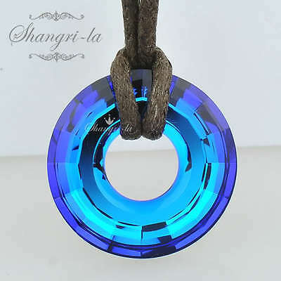 Circle RING Pendant NECKLACE with BERMUDA BLUE SWAROVSKI CRYSTAL  SS1038 25MM