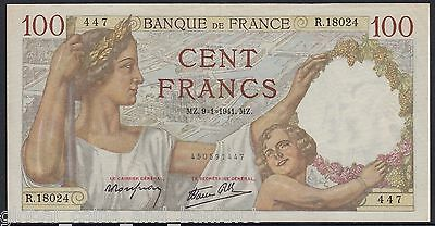 France - 1941 100c Francs Banknote -  Woman & Child w/ Background EF P.94