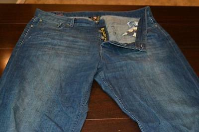 8689-a Mens Lucky Brand Jeans Size 38 x 33 Blue Jeans Button Fly Bootleg