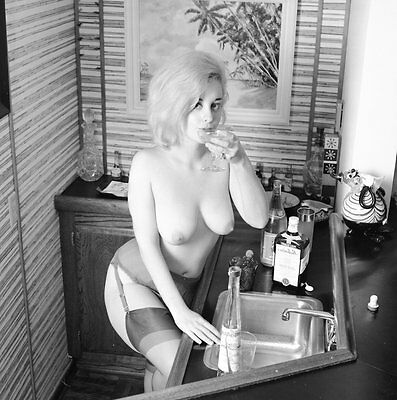 1960's Ron Vogel Negative, buxom nude blonde pin-up girl Chris Cole, t25471