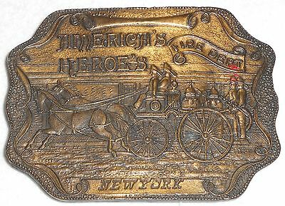 VINTAGE ~ Collectible NY BRASS BUCKLE Honoring America's Heroes - New York
