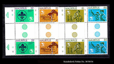 Mauritius - 1982 - 75Th Anniversary Of Scouting - Gutter Pairs 4V Mint Nh
