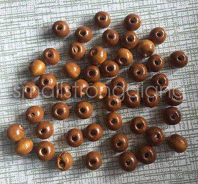 200 pcs 6mm x 5mm brown wood beads Charms spacer Necklace findings