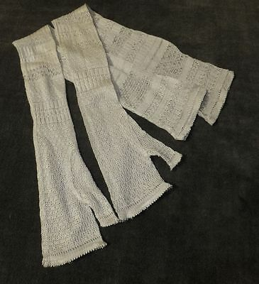 Vintage Antique Victorian Edwardian Silk Lace Fingerless Gloves