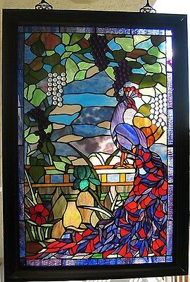 Charming Peacock Stained Glass Window Panel Suncatcher #222