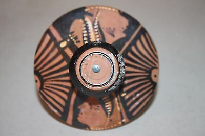 GOOD ANCIENT GREEK POTTERY RED FIGURE POT LID 4th CENTURY BC