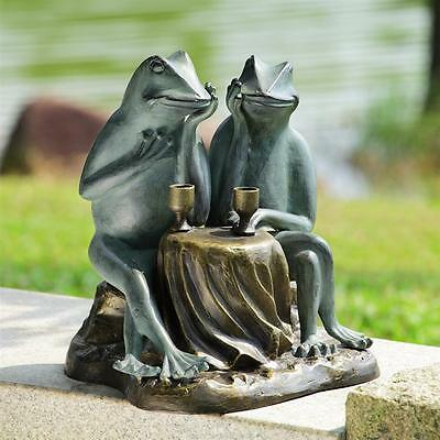 DINING FROG COUPLE GARDEN SCULPTURE * 15 inch Patio Toad Figurine Statue Yard