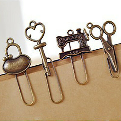 4pcs/set Vintage Metal Bookmark Stationery Paper Clips Bookmarks For Book