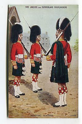 The Argyll & Sutherland Highlanders - Relieving Sentries - c1950's postcard