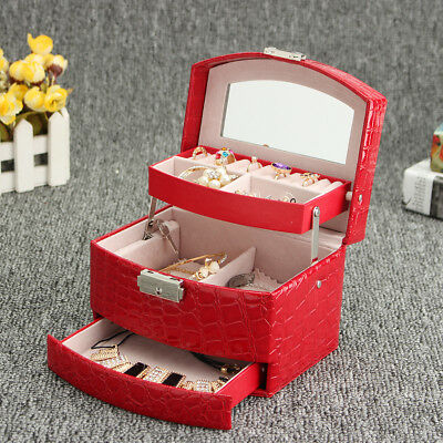 Leather Jewelry Box Organizer Case Ring Earring Necklace Mirror Storage Display