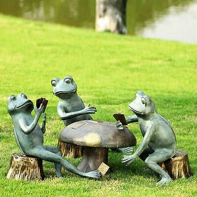 CARD CHEATING FROGS GARDEN SCULPTURE Set of 4 * Patio Toads Statue Yard Decor