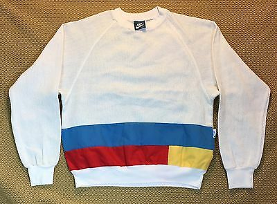 80's Vintage Nike Blue Tag Basketweave Pullover Sz Women's M NR Made In USA