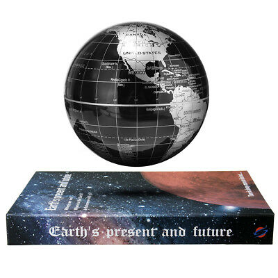"""6"""" Inch Magnetic Rotating Levitation Floating Globe With Book Base Deco Artware"""