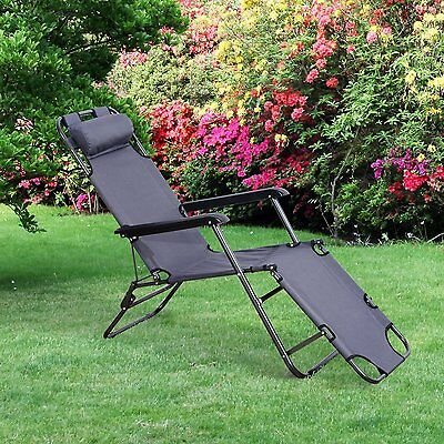 Outsunny Folding Lounge Chair Chaise Portable Recliner Sun Lounger Patio Grey