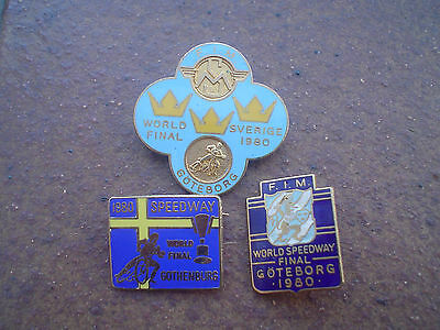3  Different World Final 1980  Sweden   Speedway  Badges  In Good  Con.gold