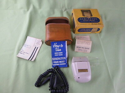 Vintage 1957 Remington Four Most Electric Shaver In Original Case And Box