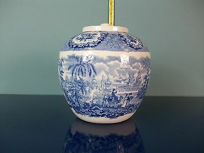 Vintage HM & Co Ltd Blue and White Pattern Ginger Jar
