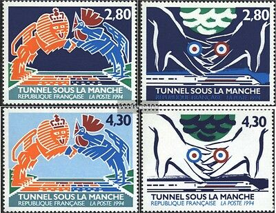 France 3023-3026 (complete issue) used 1994 english channel tun