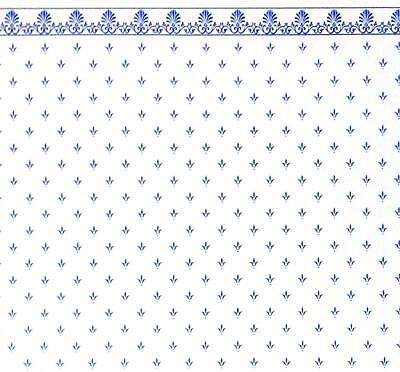 Dolls House Blue on White Balmoral Miniature Print 1:12 Scale Wallpaper