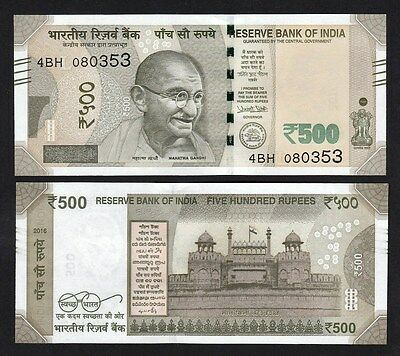 """India 500 Rupees (2016) Pick NEW """"L"""" Banknote - UNC"""
