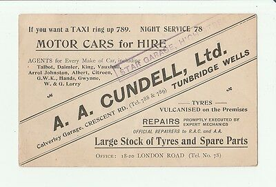 Advert For A.a.cundell, Motor Car Agents, Tunbridge Wells. Map Postcard.
