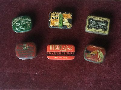 6 Different Vintage Gramophone Needle Tins Some With Needles In