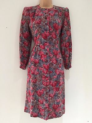 Vintage 80's Dusky Blue & Pink Floral Wool Mix Long Sleeve Work Day Dress 12-14