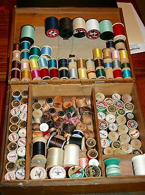 LOT OF 110+  WOODEN WOOD SEWING THREAD SPOOLS with thread in wooden sewing box