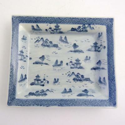 20th CENTURY CHINESE BLUE AND WHITE PORCELAIN SQUARE DISH