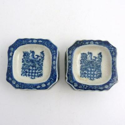 Pair Of Chinese Blue And White Porcelain Armorial Salts