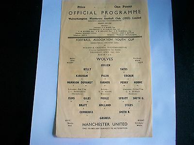 WOLVERHAMPTON WANDERERS Wolves v MANCHESTER UNITED YOUTH CUP SEMI FINAL 1957/58