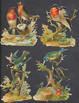 S1407 Victorian Die Cut Scraps: 4 Pairs of Birds on Bushes