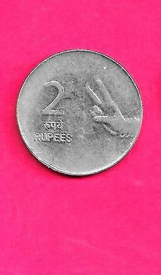 India Indian Km327 2008-H Unc-Uncirculated Mint Large New 2 Rupees Coin