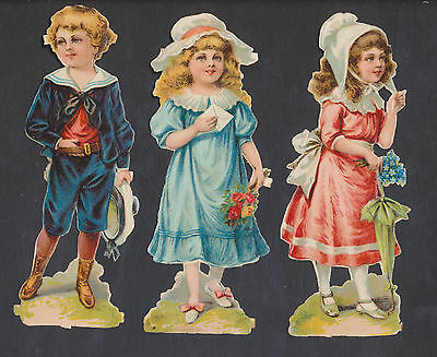S1413 Victorian Die Cut Scraps: 3 Large Children