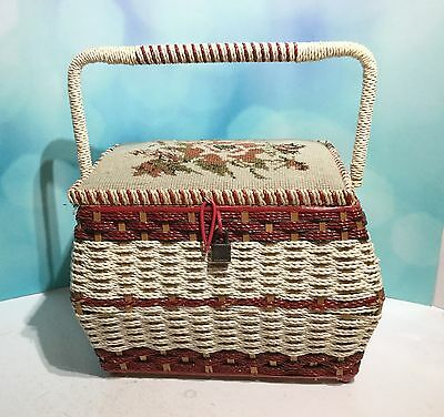 (F20) Vintage Wicker Sewing/Craft Handled Box with Handsewn Tapestry Lid