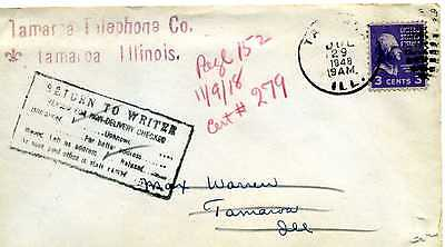 TELEPHONE   TAMAROA,-  ILLINOIS,  Cover Return to Writer 1948