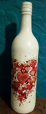 Vintage / Shabby Chic Decoupaged Bottle - Red Hearts