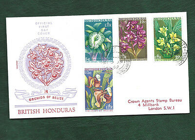 British Honduras 1969 Orchids of Belize set on FDC Flowers