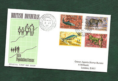 British Honduras 1970 Population Census overprint set on FDC animals stamps