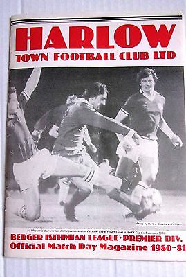 HARLOW TOWN v CHARLTON ATHLETIC FA CUP ROUND 1 NOVEMBER 1980 OFFICIAL PROGRAMME