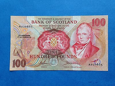 Collectable 1973 Bank of Scotland £100 Note, BYB ref.SC174b, GVF